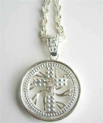 Primary image for Hip Hop Shimmering Spinning Cross Pendantal CZ Rhodium Chain 32 inches