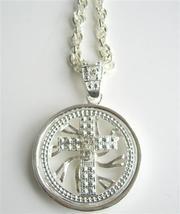 Hip Hop Shimmering Spinning Cross Pendantal CZ Rhodium Chain 32 inches - $17.28