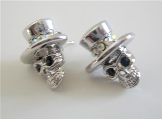 Primary image for Black Stud Eyes Skull w/ Top Hat Dangle Fashion Earrings