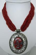 Oxidized Round Pendant Red Beaded Necklace - $17.30