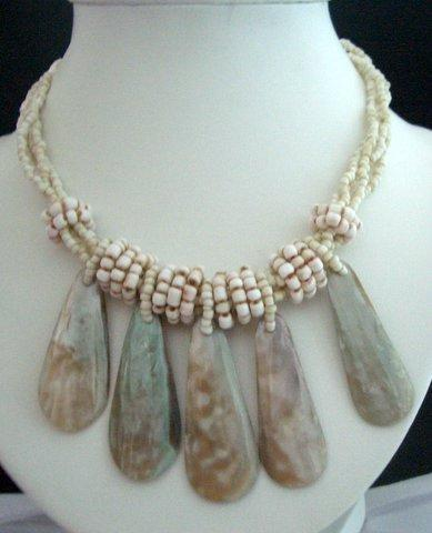 Necklace 3 Strands Cream Beaded Necklace