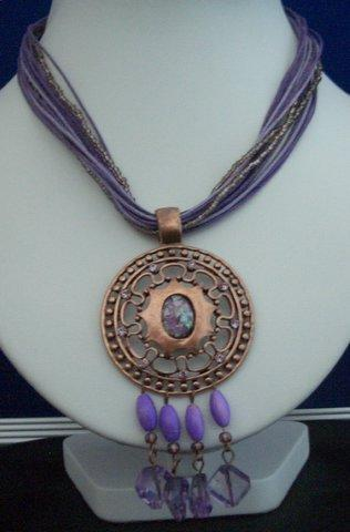 Primary image for Necklace Multi Strands Purple Strings w/ Antique Gold Pendant Dangling