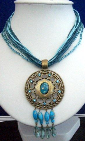 Primary image for Multi Strands Blue Strings Necklace w/ Antique Gold Pendant & Dangling