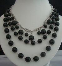 Cultured Black Pearls Necklaces w/ Three Strands Together - $10.80
