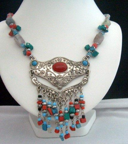 Primary image for Handcrafted Necklace Natural Turquoise & Coral Bead w/ Bali Oxidized