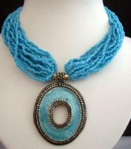 Multi Strands Choker Turquoise Color w/ Oxidized Round Shaped Pendant - $17.30