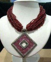 Multi Stranded Choker Necklace Red Oxidized Diamond Shaped Pendant - $14.70