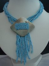 Choker Multi Strands Turquoise Bead w/ Shell Pendant Necklace - €9,48 EUR