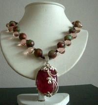 Greenish Red Agate Stone and Crystal Tear Drop 21 Inches Necklace - $29.65