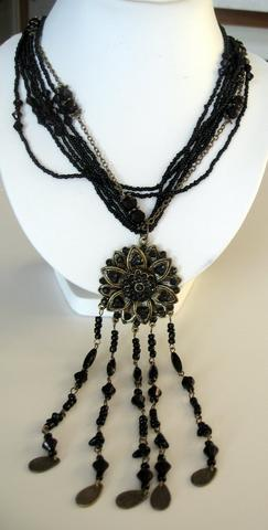 Primary image for Long Necklace Multi Strand Black Color w/ Antique Gold Round Pendant