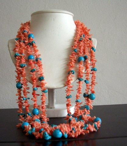 20 inches Multi Strands Angel Skin Coral & Turquoise Bead Necklace
