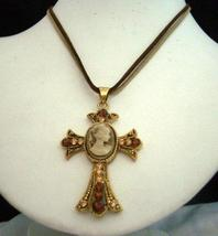 Victorian Cross Pendant Khakhi & Brown String Lady Necklace - $16.00