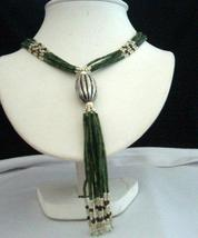 Jade Bead Necklace Metal oval Clasp 34 inches till the below Silver - $15.35