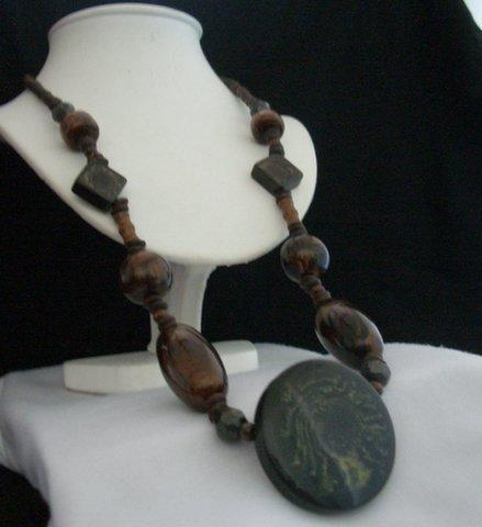 Primary image for Antique Wood Bead Necklace Wood Round Ethnic Pendant 30 inches Long