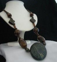 Antique Wood Bead Necklace Wood Round Ethnic Pendant 30 inches Long - $11.45