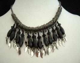 Antique Oxidised Metal Choker Bead Necklace w/ Leaf hanging - $10.15