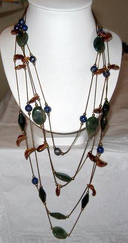 Primary image for Long chain Necklace Multi Strands Beaded Stone