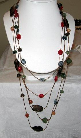 Primary image for Long chain Multi Strands Beads Stone Necklace-WOW