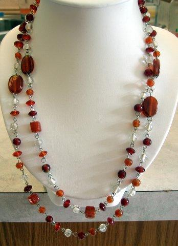 Long 24 inches Silvertone Chain Dainty Lucite Bead Necklace