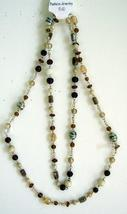 Long Necklace Cream Brown Light & Dark Beads - $14.70