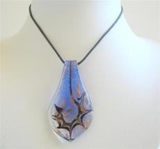 Painted Leaf Pendant Necklace Handcrafted Blue Murano Glass Jewelry - $12.73