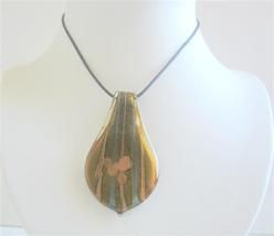 Ethnic Leaf Glass Painted Necklace Natural COlor Painted Pendant - $12.73
