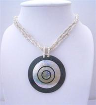 Necklace Multi Strands Indonesia Cream w/ Mother Shell Pendant - $12.08
