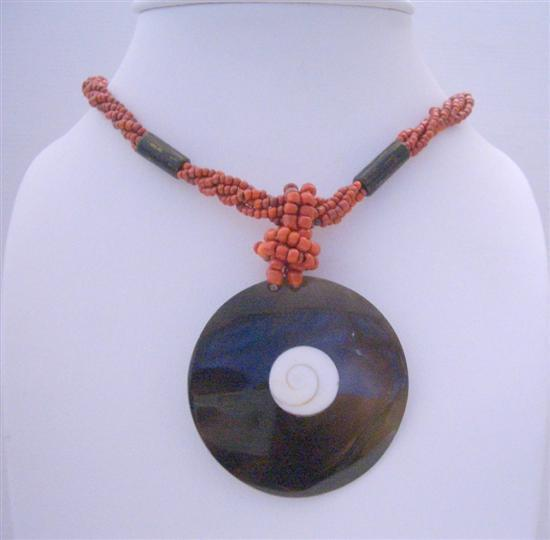 Primary image for Necklace Coral Red Bead w/ Shiva Shell Pendant Choker