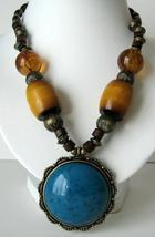 Necklace w/ Cat Eye Pendant Antique Look Necklace Simulated Tiger Eye - $17.28