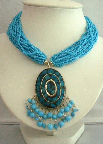 Turquoise Dangling Beaded Necklace Shell Pendant Embossed Choker