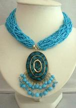 Turquoise Dangling Beaded Necklace Shell Pendant Embossed Choker - $17.30