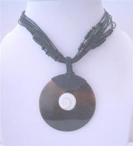 Multi Stranded Black Beaded w/ Shell Round Pendant & Self Designed - $14.03