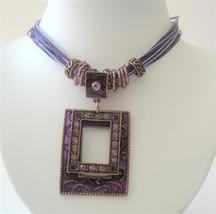 Victorian Multi Strands Purple Necklace Antique Gold Pendant Necklaces - $17.28