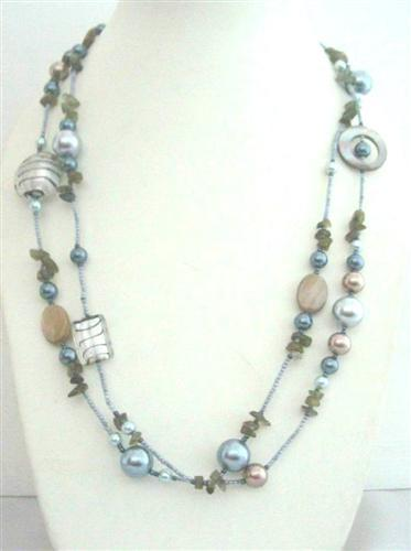 Primary image for Long Necklace Multi Semi Precious Beads Shell 26 Inches Long Necklace