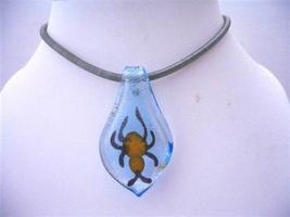 Glass Leaf Pendant w/ Spider Murano Glass Pendant Thick Chord Necklace - $13.38