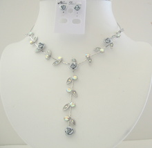 Grey Enamel Flower & Crystal Jewelry Set Drop Down Y Shaped Necklace S - $17.28