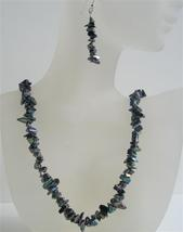 Black Nugget Necklace Set w/ Sterling Silver Earrings Metallic Black N - $20.53