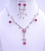Pink Flower Enamel Y Shaped Jewelry Set w/ Sparkling Fuchsia Crystals - $19.23