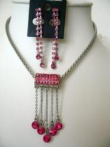 Vintage Sparkling Crystals Tassel Necklace Set Dangling Earrings Pink - $19.25