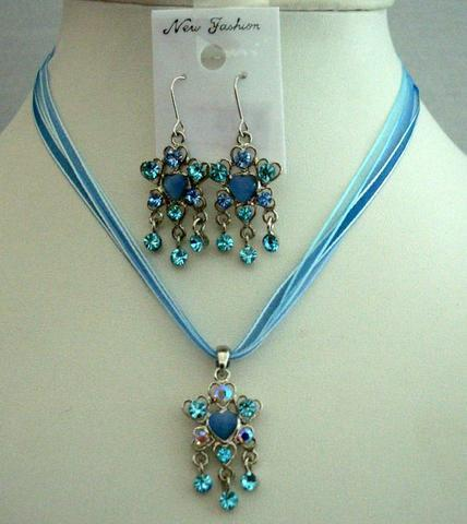 Primary image for Sleek Feminine Blue Multi Strands Necklace Set w/ Dangling Pendant
