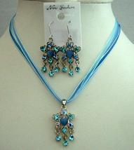 Sleek Feminine Blue Multi Strands Necklace Set w/ Dangling Pendant - $15.35
