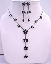 Black Enamel Flower Butterfly Decorated CZ Beads Y Shaped Necklace Set - $14.68