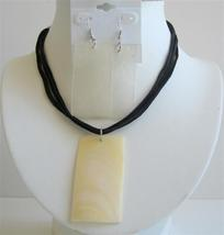 Ivory Shell Necklace Set Rectangular Shell Pendant & Shell Earrigns - $12.08