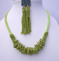 Multi Strand Green Jewelry Green Beaded Necklace & Chandelier Earrings - $11.43