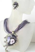 Purple Multi Strands Necklace w/ Ethnic Enameled Pendant w/ Amethyst C - $26.38