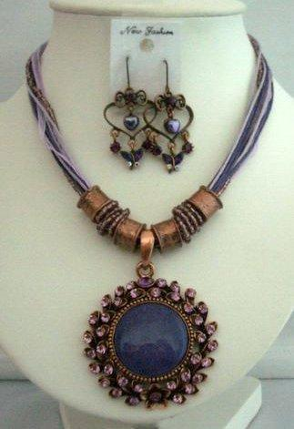Primary image for Amethyst Necklace Set Feminie Jewelry Tirbal Necklace w/ Earrings