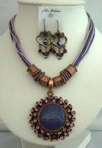 Amethyst Necklace Set Feminie Jewelry Tirbal Necklace w/ Earrings - $23.80