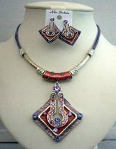 Ethnic Amethyst Necklace Set Feminie Jewelry Tribal Necklace Earrings - $23.15