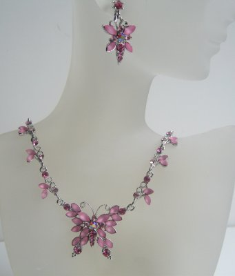 Primary image for Victorian Pink Crystal Butterfly Necklace Earrings Set Adorned w/ Pink