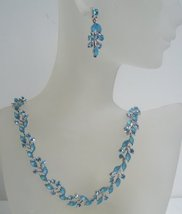 Blue Crystal Necklace Earring Set Necklace Set Adorned w/ Aquamarine C - $34.18